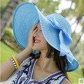 2016 Новая Мода Женский Корейский Летом Женщины Шляпы Прилив Складной Пляж шляпа Солнцезащитный Крем Вс Шляпу Вдоль Шляпа Солнца Твердые Шапки Повседневная Cap