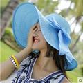 2016 Nueva Moda Marea Femenina de Corea Del Verano de Las Mujeres Sombreros de Playa Plegable sombrero Protector Solar Sombrero para el Sol A Lo Largo de Sombrero de Sol Caps Solid Casual Cap