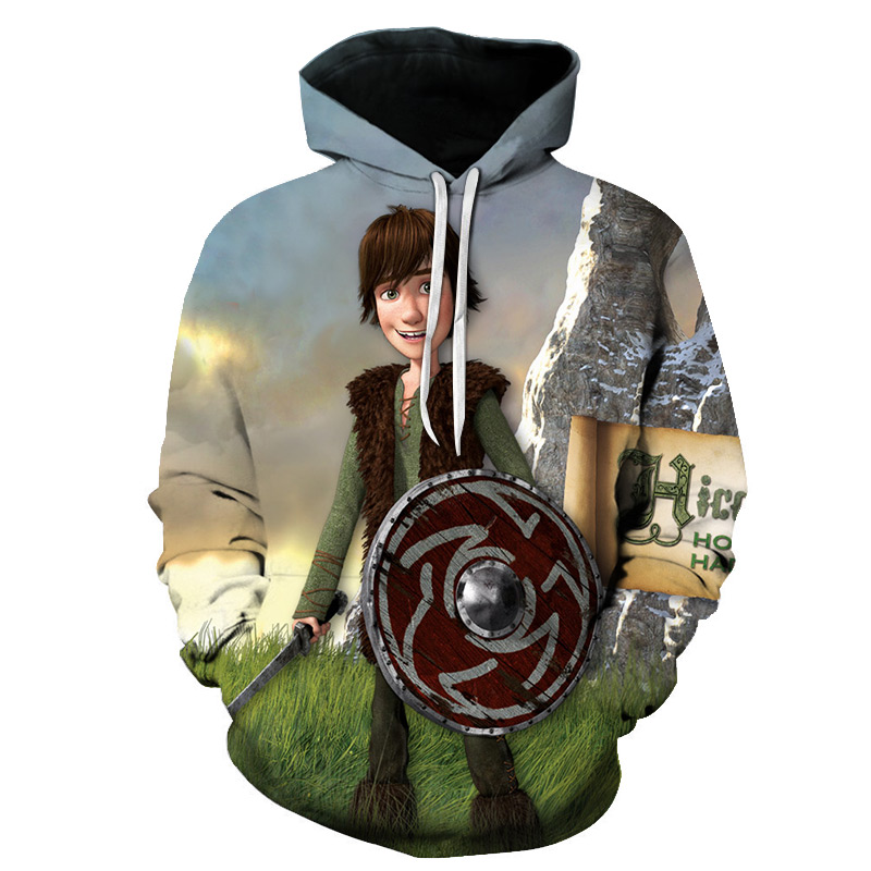 3D Print New Arrival How to Train Your Dragon Mens Printed shirt Loose Pullover Womens black Hoodie&Sweatshirts