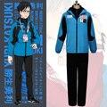 Yuri em ice katsuki yuri cosplay traje terno do esporte dos homens azuis jaqueta + calça preta + top preto completo conjunto anime cos roupa sportwear