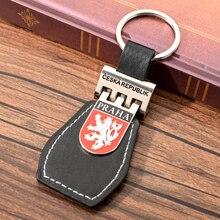 Vicney Czech National Emblem PU Leather Keychain PRAHA Travel Souvenir Key ring Key Chain For Car Keyring Key Holder For Key scooter praha