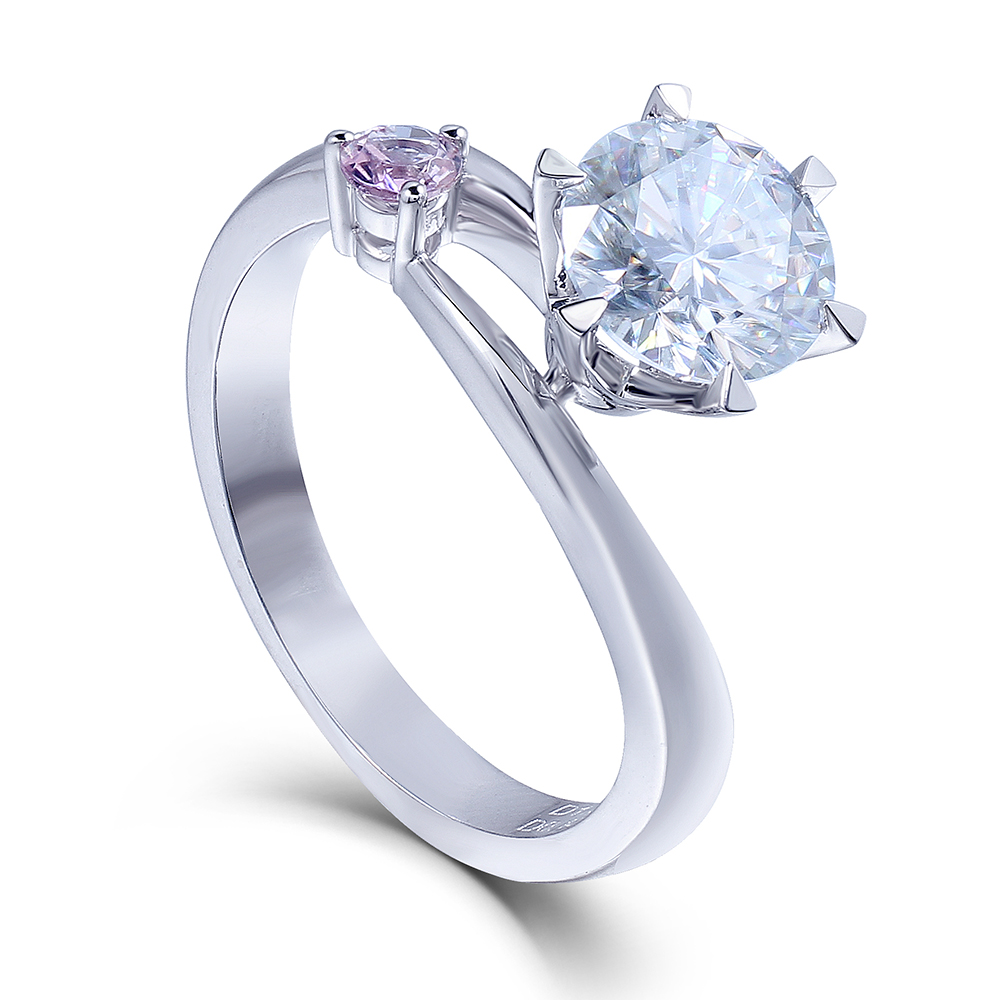 Transgems Moissanites Lab Grown Diamond Engagement Ring 1 CT DF Color 14k White Gold Engagement Wedding Rings Jewelry for woman