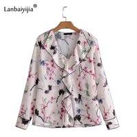 Lanbaiyijia Newest Style red crowned crane Print Shirt Women shirts V neck Fashion brand Blouse Women Pullover Shirts S M L