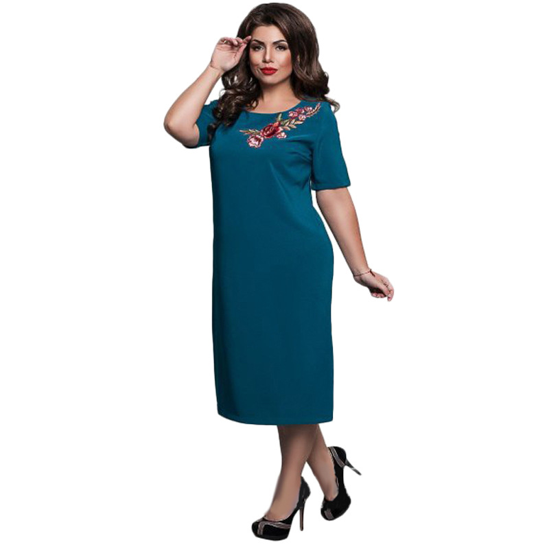 Elegant Solid Large Size Embroidered Dress Office Dinner Party 4XL 5XL 6XL Casual Loose Ladies Women Flower Embroidered Dress