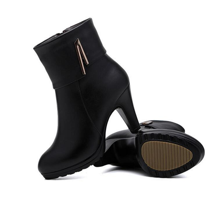 Women's Shoes Zxryxgs Brand Boots Wool Warm Genuine Leather Shoes Woman Snow Boots 2018 Winter Ankle Boots Fashion Shoes High Heeled Boots Volume Large