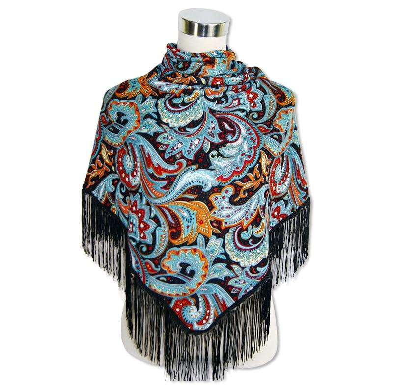 franjas xale flores bandanas hijab algodão echarpe