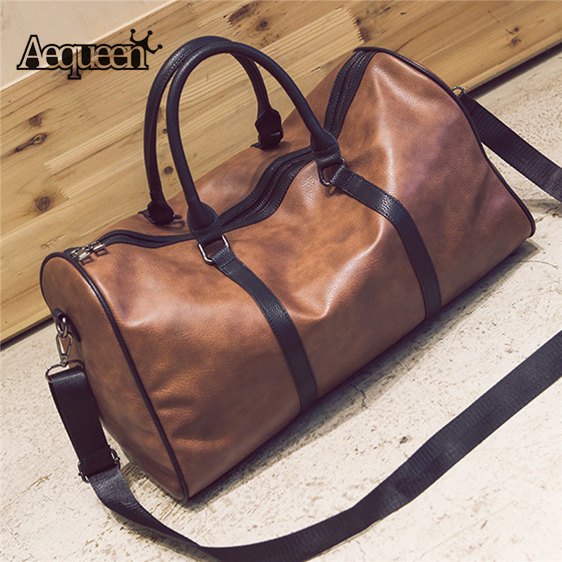 AEQUEEN 2018 Luxury Traveling Tote PU Leather Duffle Handbag Men Women Large Capacity Luggage Bag Big Retro Shoulder Bag Female