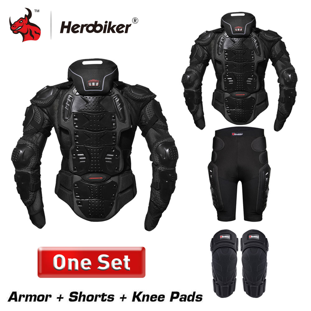HEROBIKER Motorcycle Jackets Men Motorcycle Armor Protection Body Protective Gear Motocross Motorbike Jacket With Neck Protector herobiker motorcycle armor removable neck protection guards motorcycle jacket racing protective gear full body armor protectors