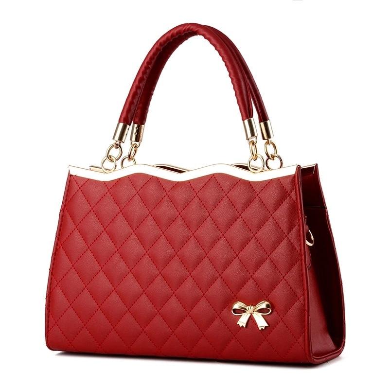FGGS Women Handbags Messenger Bags Crossbody Leather Diamond Pattern Bag Female wine Red