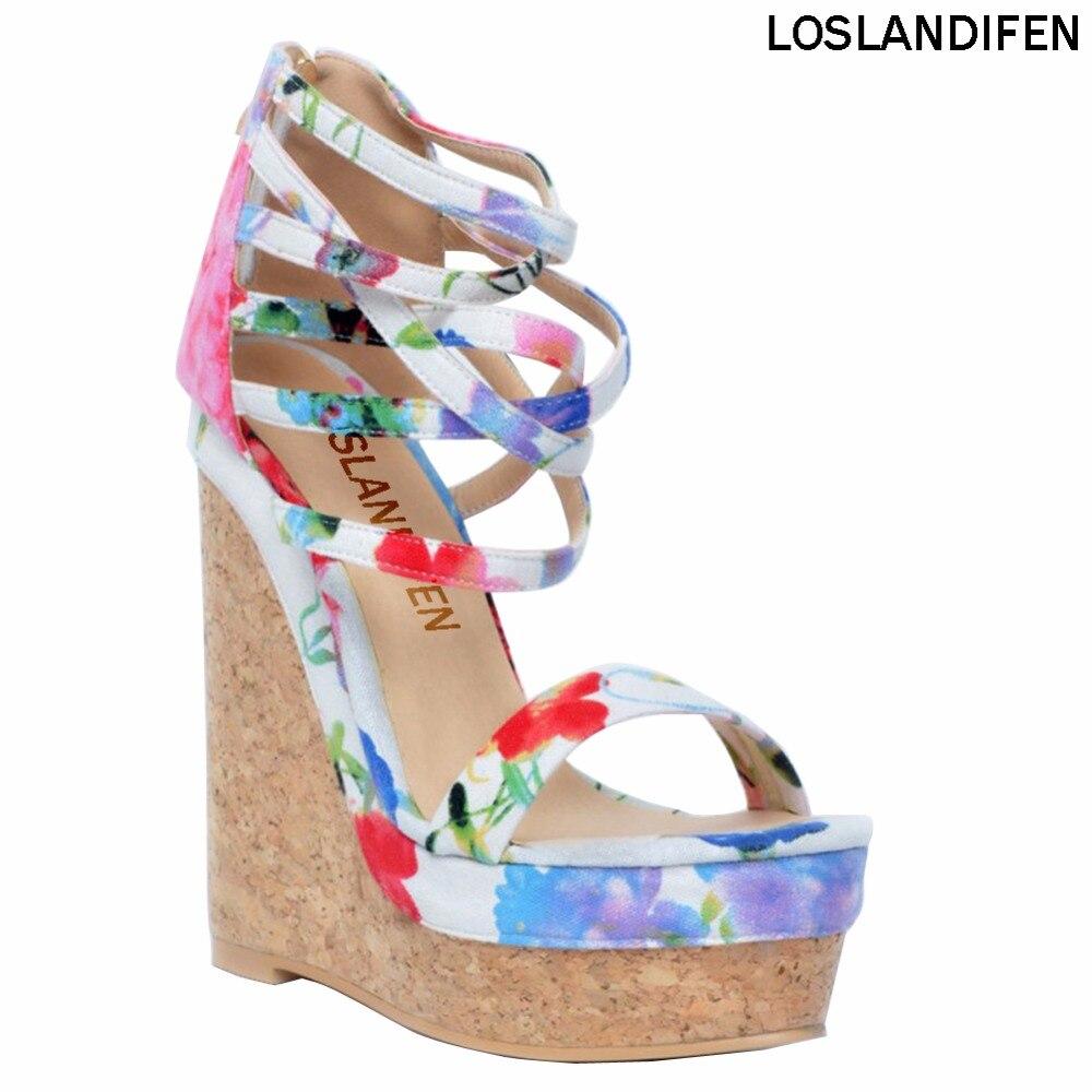 Femmes mode fait à la main 15 cm Wadge talon Zipper bride à la cheville fleur en cuir sandales chaussures XD118