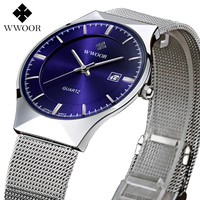 Top Luxury Brand WWOOR Watches Men Quartz Watch Stainless Steel Mesh Strap Ultra Slim Dial Waterproof