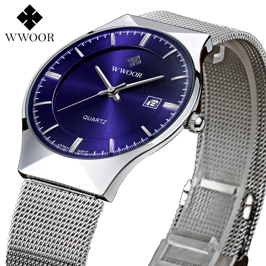 Luxury Brand WWOOR Watches Men Quartz-Watch Stainless Steel Silver Mesh Strap Ultra Slim Dial Waterproof Clock Relogio Masculino men watches top brand wwoor date clock male waterproof quartz watch men silver steel mesh strap luxury casual sports wrist watch