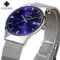 WWOOR Relógios Homens de luxo Da Marca de Quartzo-Relógio de Aço Inoxidável Cinta De Malha De Prata Ultra Fino Mostrador do Relógio À Prova D' Água Relogio masculino