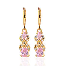 European and American gold multi-colored Zircon earrings trendy jewelry accessories women fashion earrings girls gifts цена