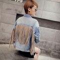 Tendência das mulheres do outono da longo-luva jaqueta curta denim outerwear