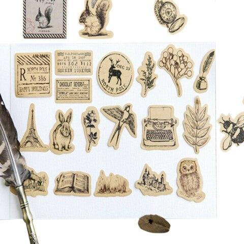20 pacotes lote do vintage pequenos animais bonitos diario de papel artesanal etiqueta selagem diario