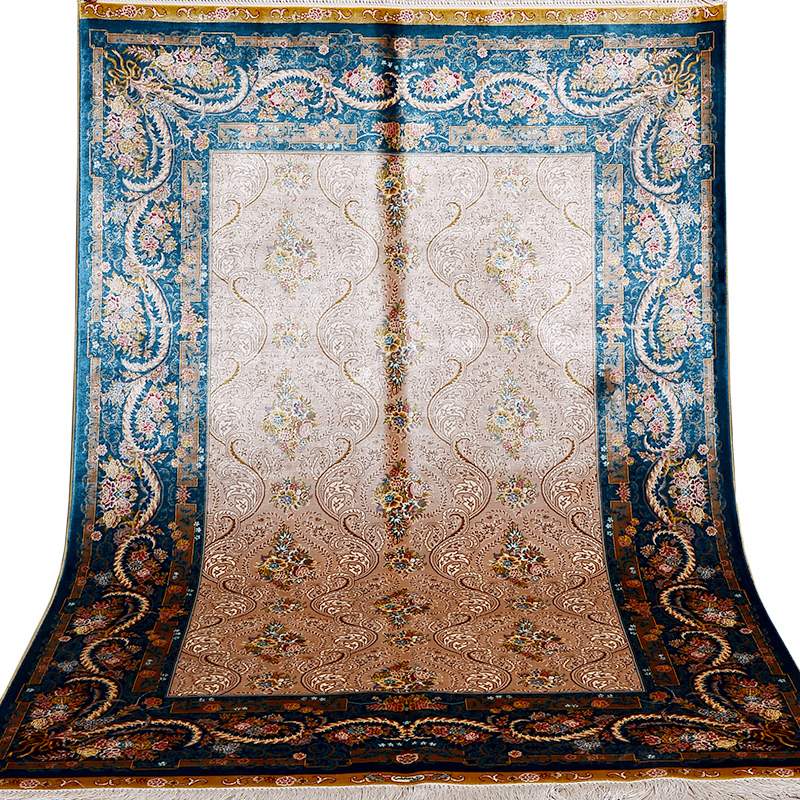 Us 2680 0 Fangcun 4 X6 Blue Vintage Persian Area Rug Top Hand Knotted Handmade Silk Carpet For Living Rooms And Offices In Carpet From Home Garden