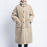 Abrigos mujer invierno 2019 winter faux fur coat 30% sheep fur blends teddy jacket women long furry coats