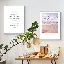 HAOCHU Nordic Simple Decorative Painting Seascape Beach Birds Character Personality Home Living Room Bedroom Restaurant Hotel
