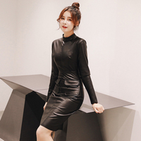 2018 spring new women's dress Slim pu leather black long sleeved dress female