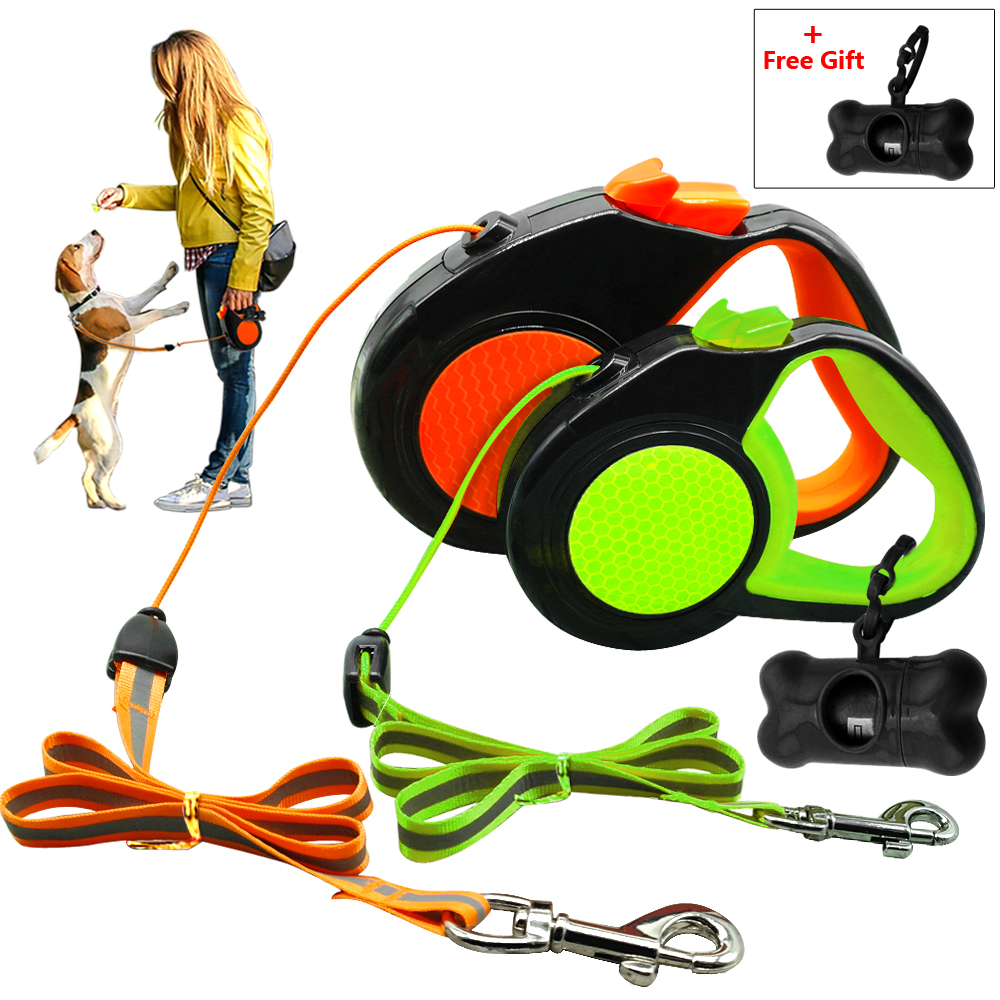 10Ft 16Ft Retractable Dog Leash Automatisk Extending Walking Lead Reflekterande Med Gratis Hundavfall Dispenser För Små Medium Hundar