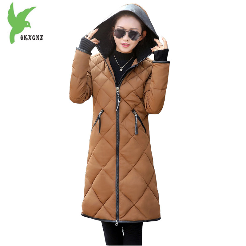 Down Cotton Jacket Women Winter Coat New Fashion Hat Flocking Warm Parkas Plus Size Medium Length Thicker Slim Coat OKXGNZ A1000 down cotton jackets women winter warm coat new fashion hooded thicker casual outerwear plus size slim parkas female okxgnz ah203