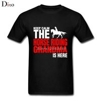 Keep Calm The Horse Riding Grandma Is Here Tees Shirt For Men Summer Custom Short Sleeve
