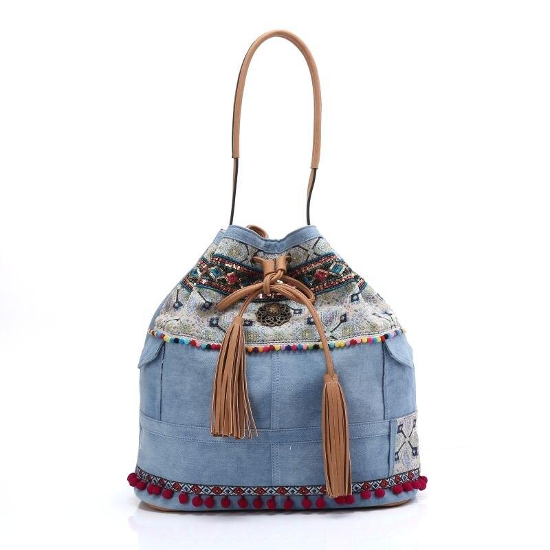 women's handbag boho blue denim canvas bohemian hippies shoulder bag pocket strawing tassels Embroidery ethnic cross body bag