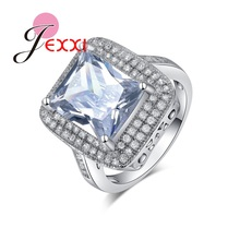 JEXXI Brand Luxury Big Square Cubic Zircon Crystal Jewelry 925 Sterling Silver Fashion Bridal Wedding Rings Accessory Charm Ring