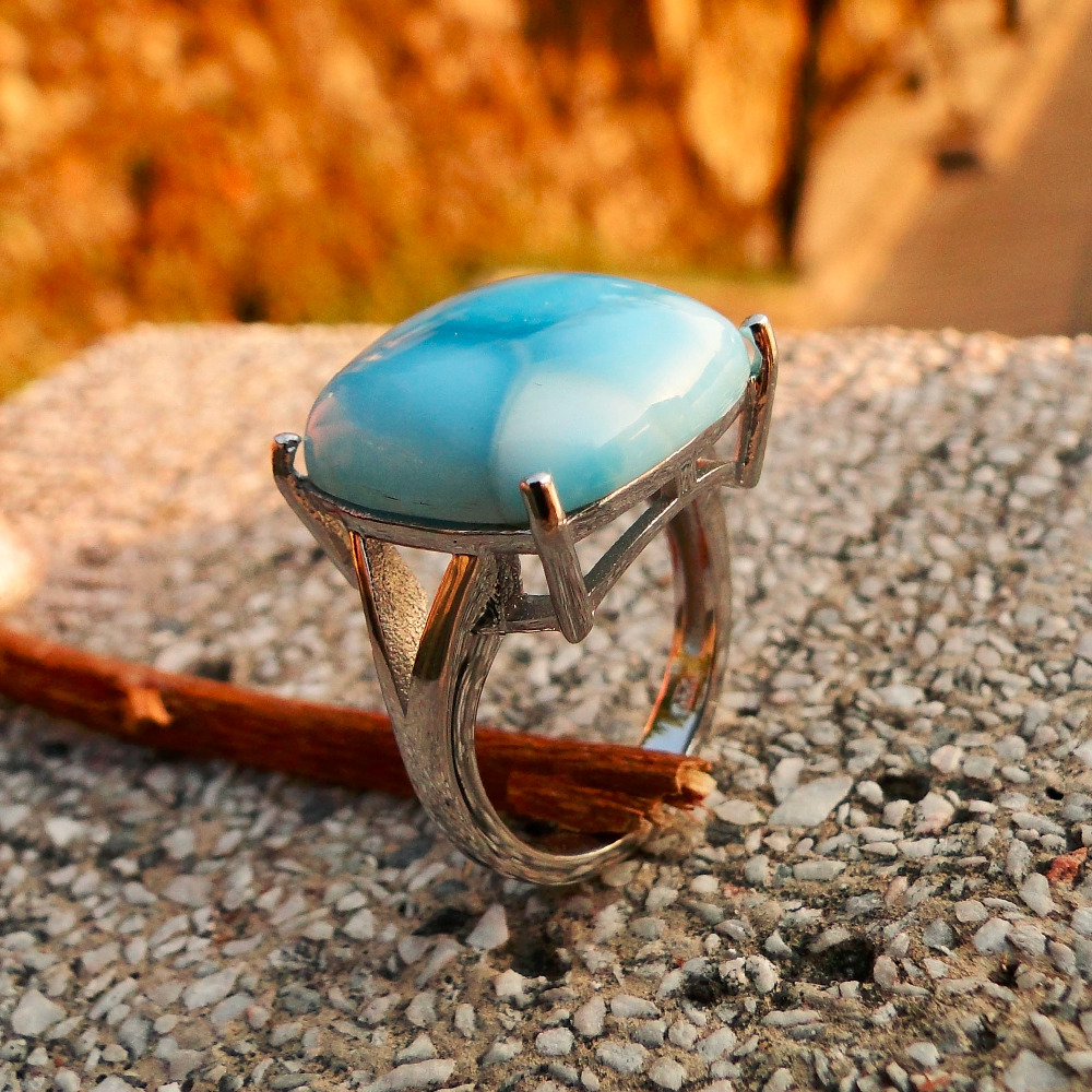 Fine Jewelry Woman Rings 925 Sterling Silver 16*16MM Real Larimar Crystal Ring Blue AAA Larimar Party Anniversary Jewelry Gift big stone larimar rings woman ladies engagement rings with natural larimar gemstone 925 sterling silver jewelry gift for her