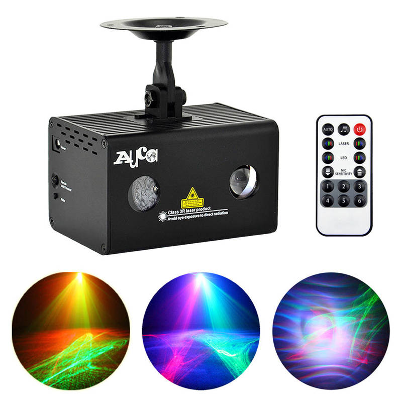 AUCD Mini Remote RG Laser Light Professional Aurora RGB LED Stage Lighting Party Disco Show DJ Home Wedding Lighting LL-A200RG rg mini 3 lens 24 patterns led laser projector stage lighting effect 3w blue for dj disco party club laser