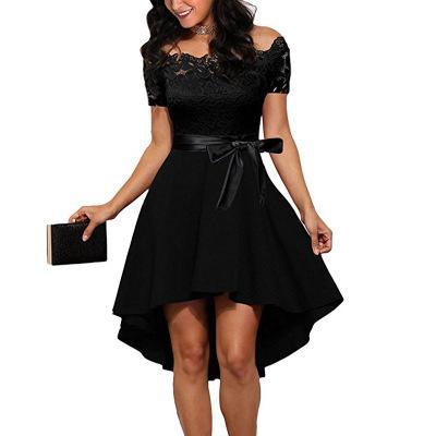 Elegant Red Lace dress Women Patchwork Slash Neck Short Sleeve Sashes Tunic Dress 2018 Summer Ladies Sexy Evening Party Dresses 5