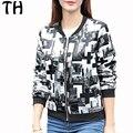 female bomber 2016 Slim Fit Autumn Bomber Jacket Zipper 3D Print Casual Jackets Women Basic Coats chaquetas mujer #161460