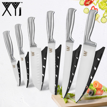 XYj Stainless Steel Kitchen Knives Sets Holder Block Stand Paring Utility Santoku Chef Slicing Bread Accessories Tools