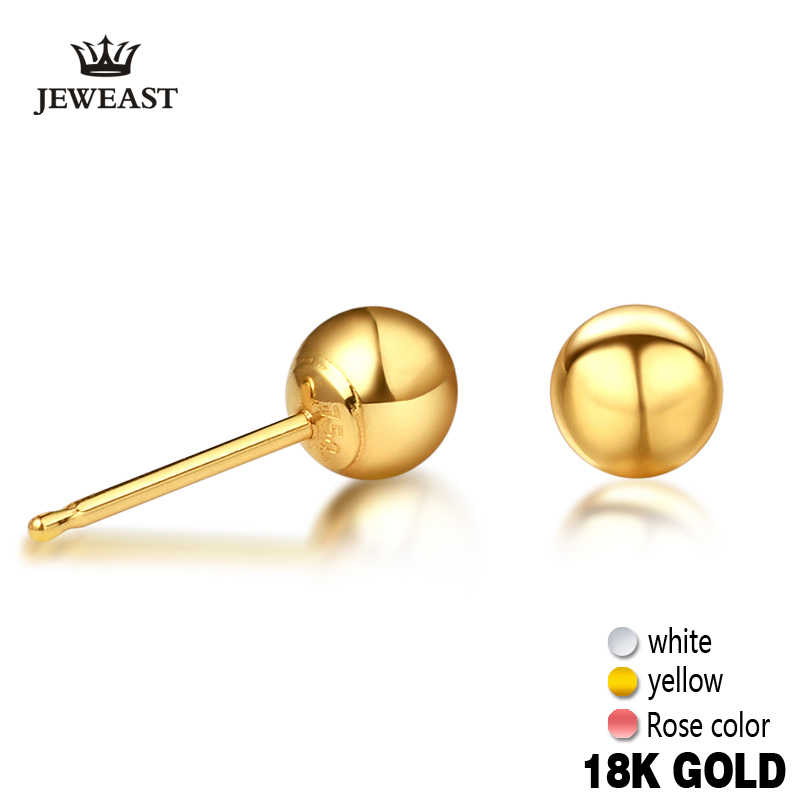 XXX 18k Pure Gold Women <font><b>Men</b></font> Stud <font><b>Earrings</b></font> Yellow White Rose Female Male Genuine Jewelry Classic Simple Ball <font><b>Unisex</b></font> Hot Sale image