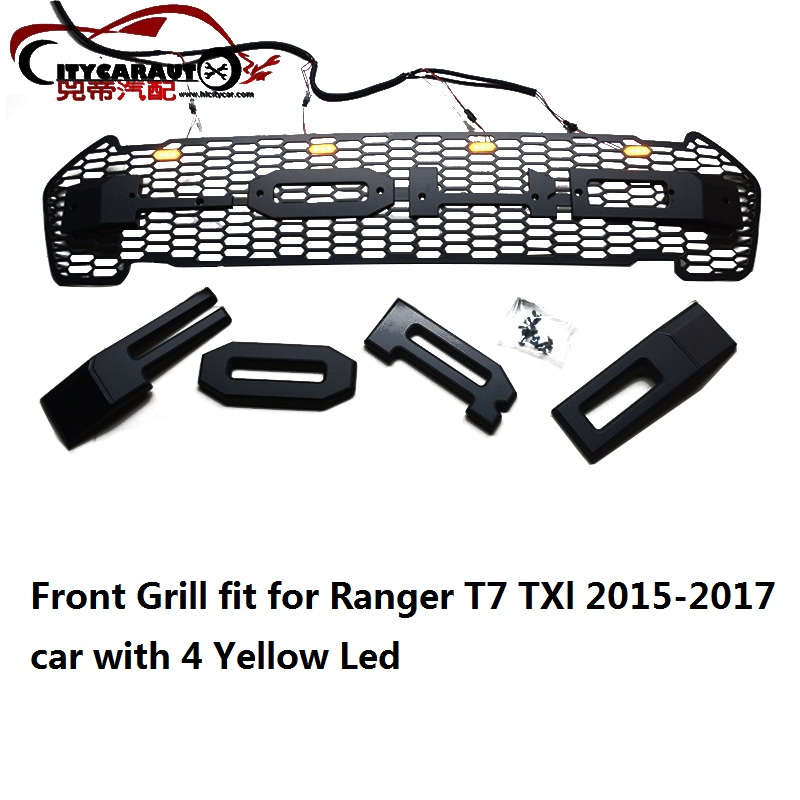 все цены на  CITYCARAUTO Front raptor grill grille ABS black trims front covers Fit for Ranger T7 Txl pick up car 2015-2015 with 4 Yellow LED  онлайн