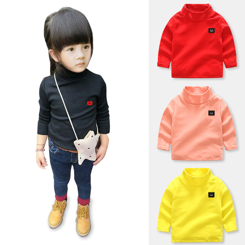 2018 Winter Autumn boys girls turtleneck sweatshirts high-necked Solid color Cotton Bottoming shirt toddler kids clothing