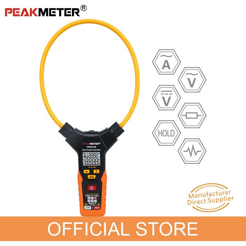 OFICIAL PEAKMETER PM2019S Inteligente AC Digital Clamp Meter Multímetro Flexível Handheld Tensão Resistência Atual Frequency