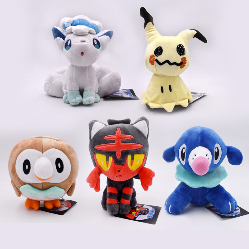 18-20cm Anime Litten Rowlet Popplio Alola Vulpix Mimikyu Plush Toy Sun Moon Starter Animal Doll For Kids Free Shipping