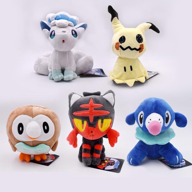 18-20cm Anime Litten Rowlet Popplio Alola Vulpix Mimikyu Plush Toy Sun Moon Starter Animal Doll For Kids Free Shipping