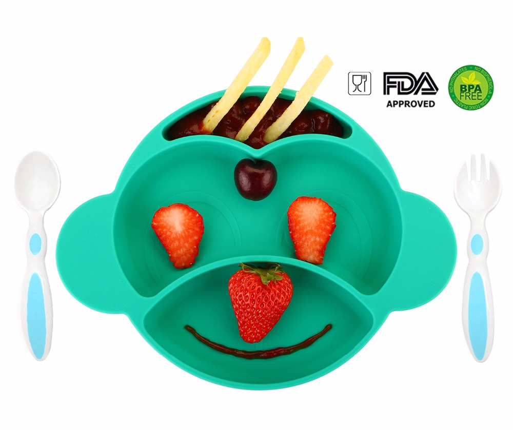 Qshare Baby Dishes Infant Plate Kids Silicone Bowl Monkey Styling Tableware Set Kitchen Fruit Dishes Baby Dinnerware Placemat