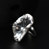 Creative Style Ethnic Style 925 Sterling Silver Thai Silver Retro Lotus Leaf Handmade Rings Female Freshwater