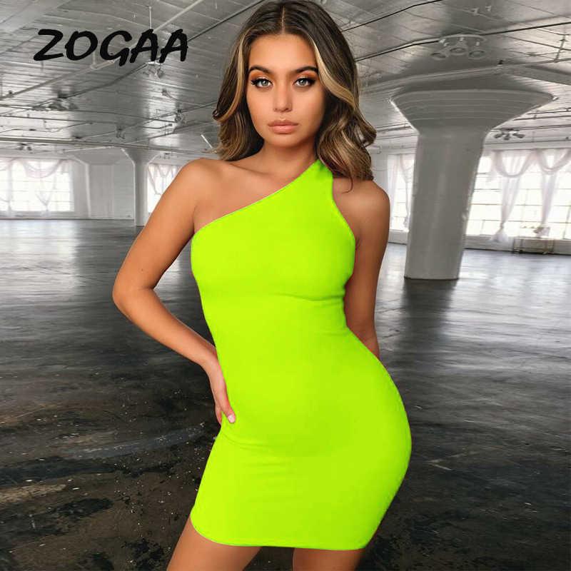 ZOGAA Bodycon Bandage Dress Women Vestidos Verano 2019 Summer Sexy Elegant Green Orange One Shoulder Midi Party Night Slim Dress