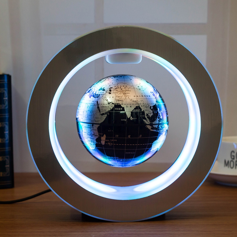 New Novelty Decoration Magnetic Levitation Floating Globe World Map with LED Light with Electro Magnet and Magnetic Field Sensor