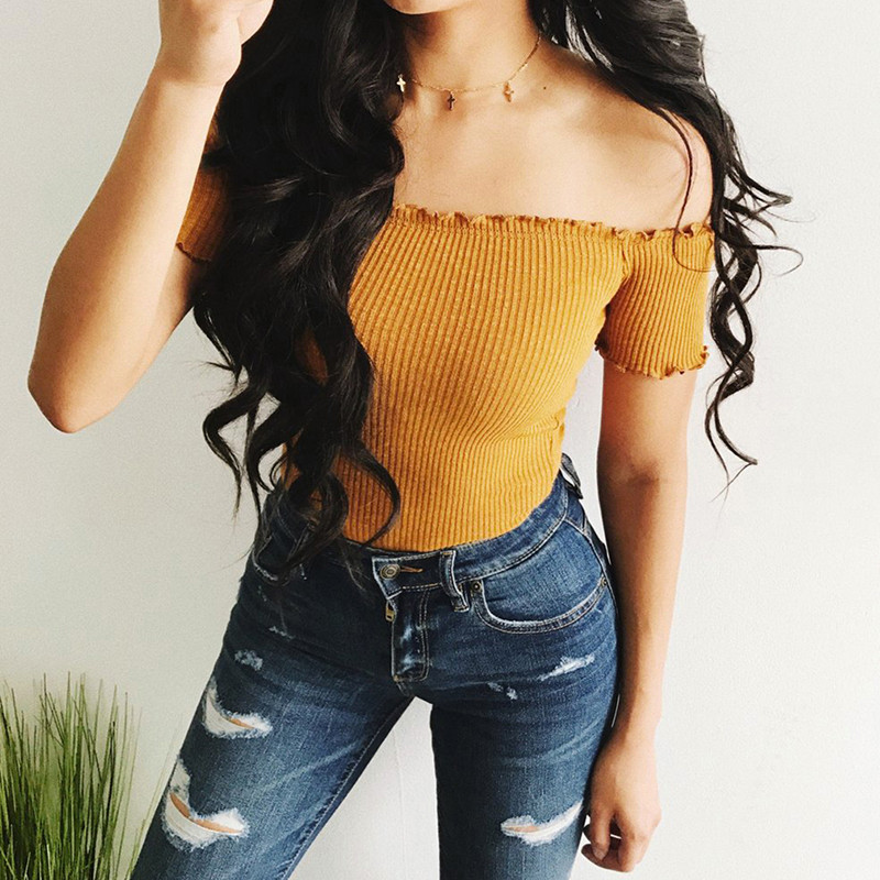 Summer New  Off Shoulder Tops T Shirts Hot Sale Short Sleeve Solid Short T-shirts For Women Clothing Fashion Slim T-shirt
