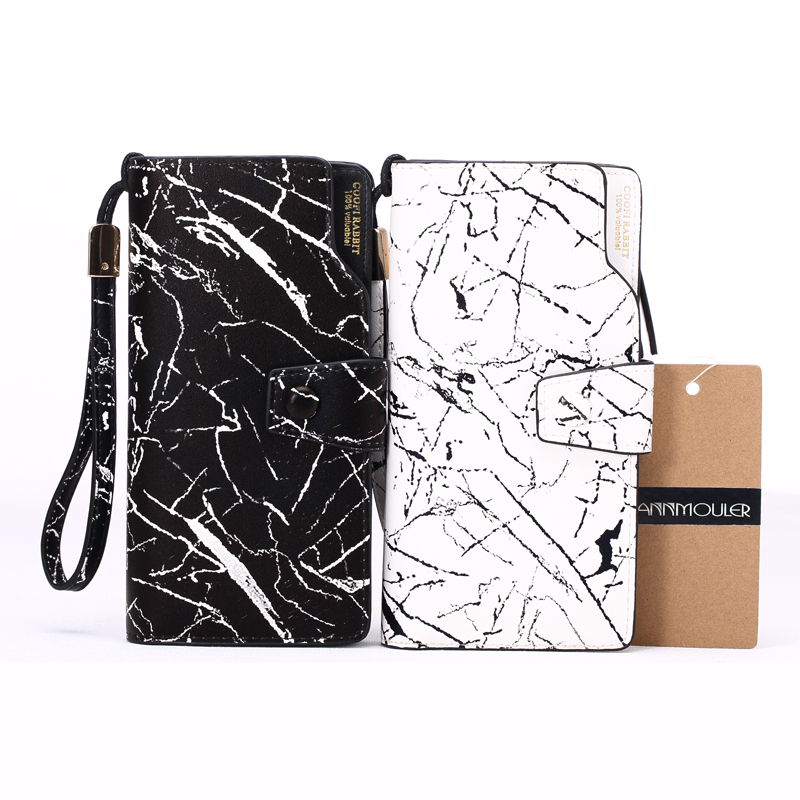 Brand New Women Wallet Pu Leather Card Holders Long Size Wallets High Quality Marble Printed Coin Purse Multi-pocket Clutch Bag silver stone pattern long clutch wallets women pu leather coin purse brand female card holders wallet elegant ladies evening bag