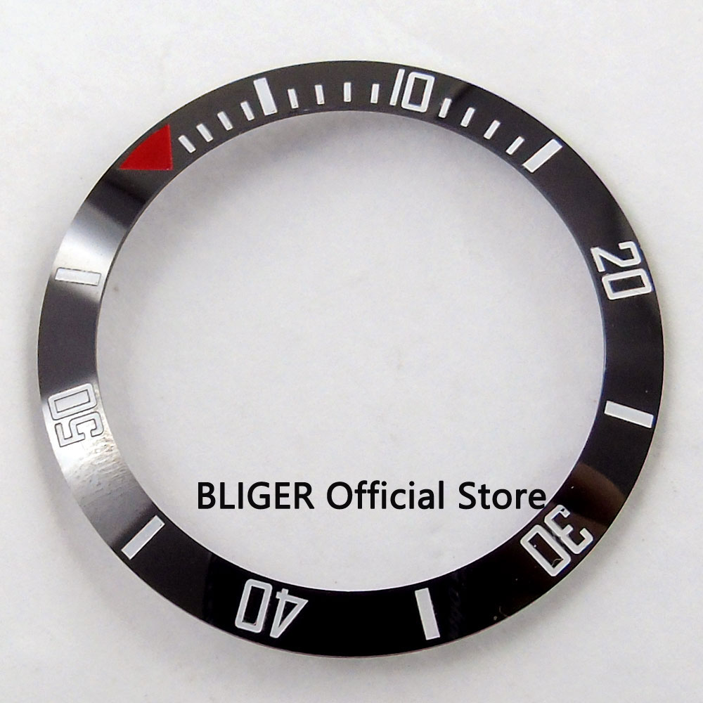 38mm ceramic bezel insert black with white marks fit 40mm watch case SUB Automatic watch mens watch BB27