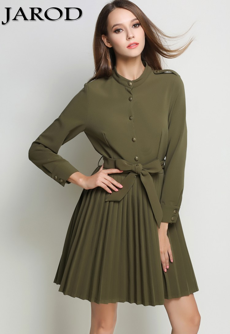 OL Women Autumn Army Green Office Dress Vetement Femme 2017 Vestido Vintage Long Sleeve Pleated Dashiki Retro Dress