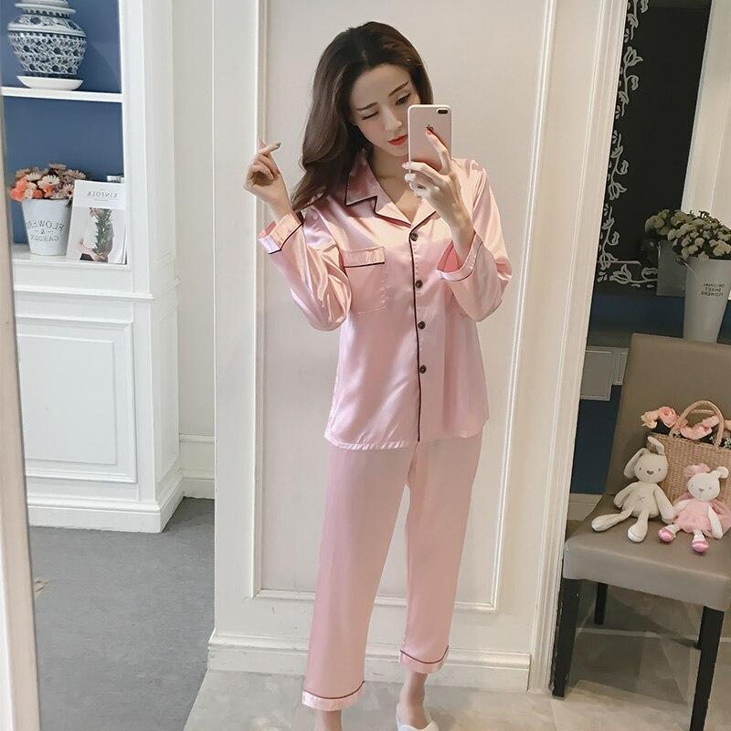 Women   Pajama     Sets   Silk Satin Pijama Long Sleeve Fashion   Pajamas   Suit Home Two Piece   Sets   Sleepwear New Large Size Nightwear