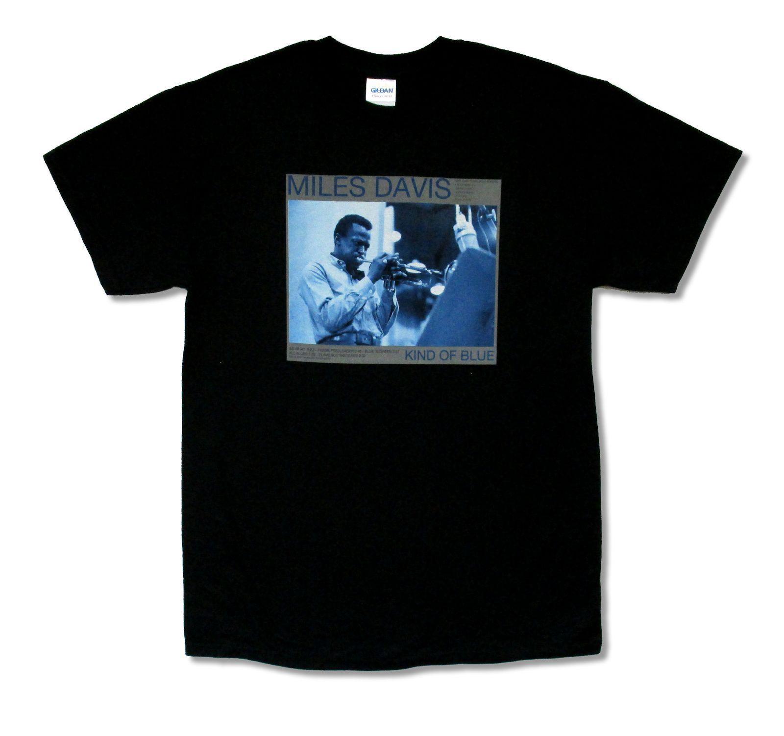"MILES DAVIS ""KIND OF BLUE"" BLACK T-SHIRT NEW OFFICIAL ADULT JAZZ BAND MUSIC Print T Shirt Summer Short Sleeve Harajuku Tops"